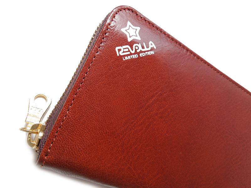 REVOLLA 艶のあるイタリア産の高級な牛革を使用したラウンドジップロングウォレット。